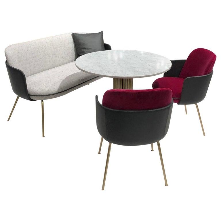 Wittmann Merwyn Armchairs, Sofa Bench and Miles Table by Sebastian Herkner For Sale
