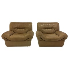 Wittmann, Model 'Chairman' Pair of Lounge Chairs, Patinated Cognac Leather, 1971