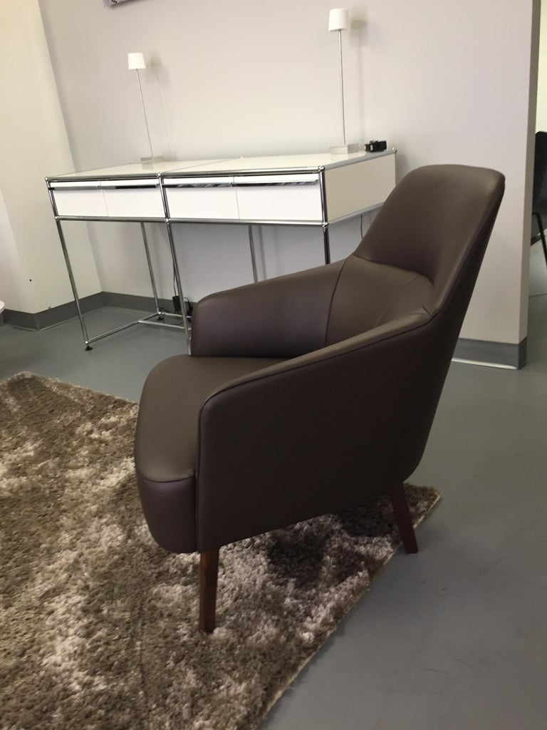 Austrian Wittmann Mono Brown Leather Lounge Armchair For Sale