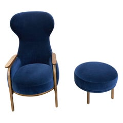 Wittmann Navy Velvet Vuelta High Back Lounge Armchair and Ottoman by Jaime Hayon