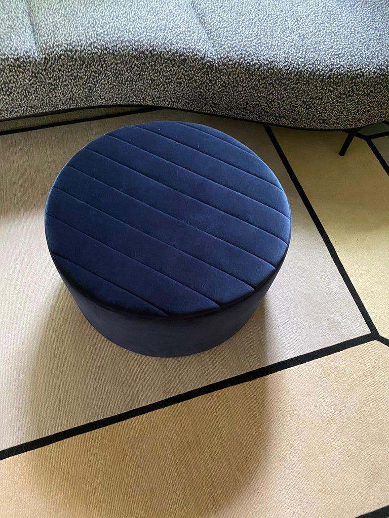 Wittmann Oyster Ottoman in Raf Simons Velvet In Excellent Condition For Sale In New York, NY