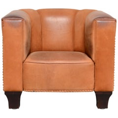 Wittmann Palais Stoclet Vintage Cognac Leather Armchair by Josef Hoffmann