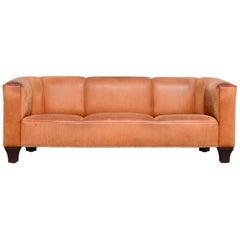 Wittmann Palais Stoclet Vintage Cognac Leather Sofa by Josef Hoffmann