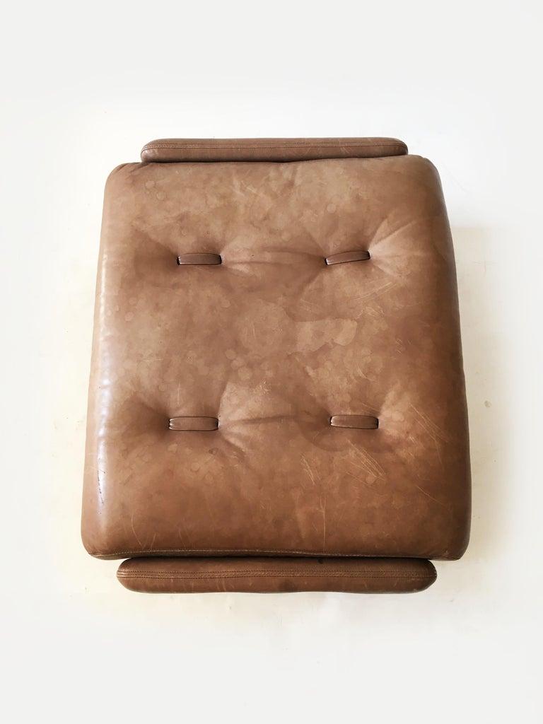 Wittmann Patinated Leather Ottoman Model 'Atrium' Set of Three, Austria, 1970s For Sale 5