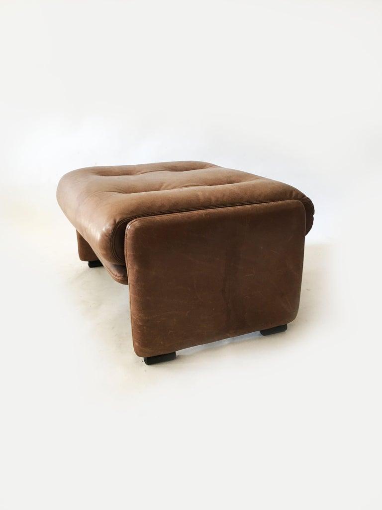 Late 20th Century Wittmann Patinated Leather Ottoman Model 'Atrium' Set of Three, Austria, 1970s For Sale