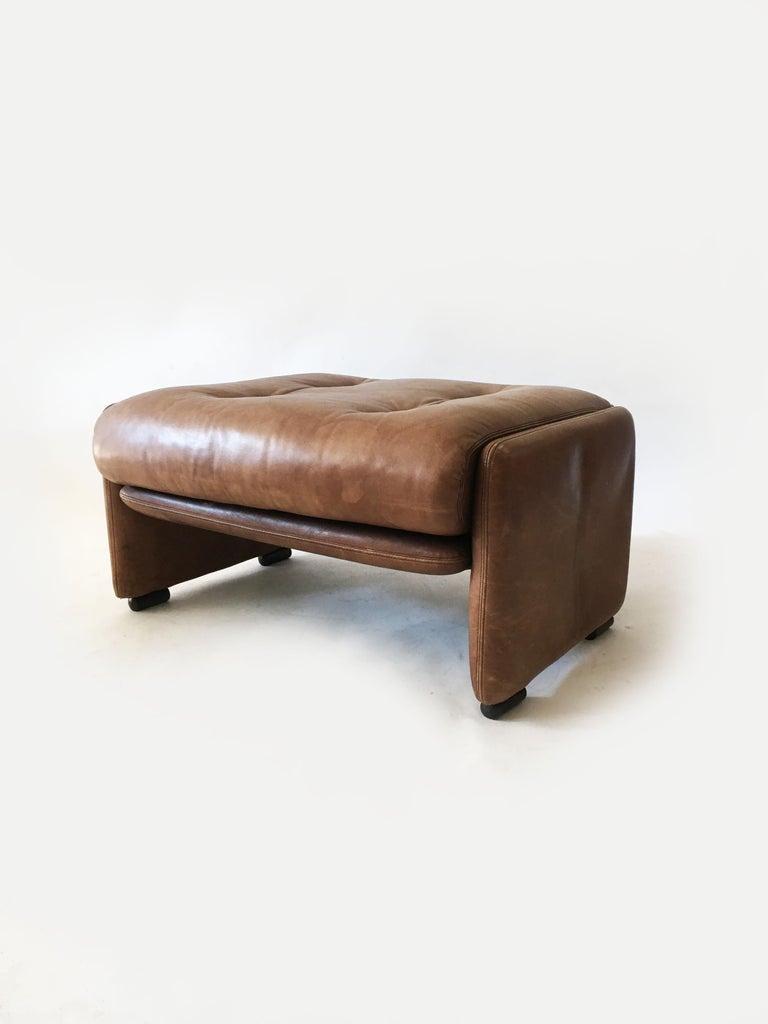 Wittmann Patinated Leather Ottoman Model 'Atrium' Set of Three, Austria, 1970s For Sale 2