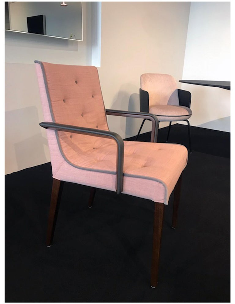 Contemporary Wittmann Set of Two Pink Leslie Armchairs For Sale