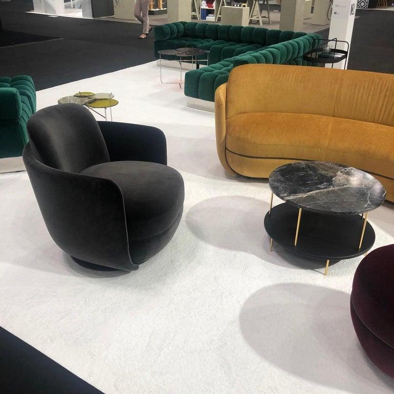 Wittmann Velvet Miles Lounge Chair and Miles Pouf by Sebastian Herkner For Sale 5