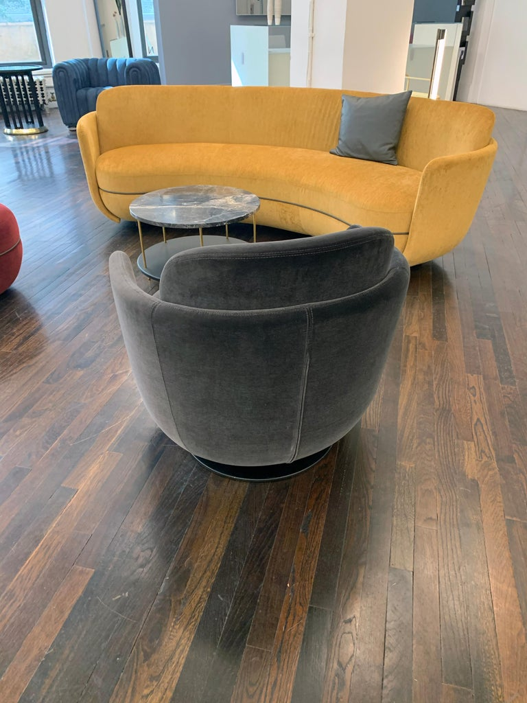 Miles swivel lounge cat E-Velvet Harald 3 # 283 Miles stool diameter 55cm ( 21.6