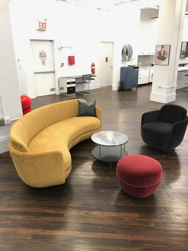 Austrian Wittmann Velvet Miles Lounge Chair and Miles Pouf by Sebastian Herkner For Sale