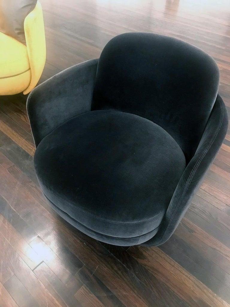 Wittmann Velvet Miles Lounge Chair and Miles Pouf by Sebastian Herkner In New Condition For Sale In New York, NY