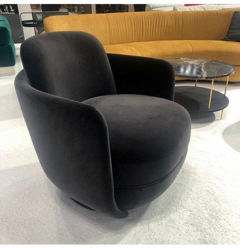 Contemporary Wittmann Velvet Miles Lounge Chair and Miles Pouf by Sebastian Herkner For Sale