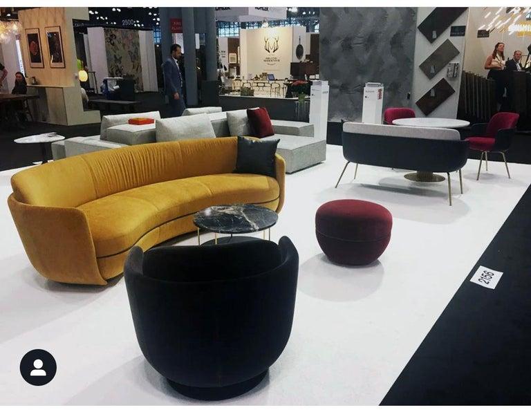 Wittmann Velvet Miles Lounge Chair and Miles Pouf by Sebastian Herkner For Sale 1