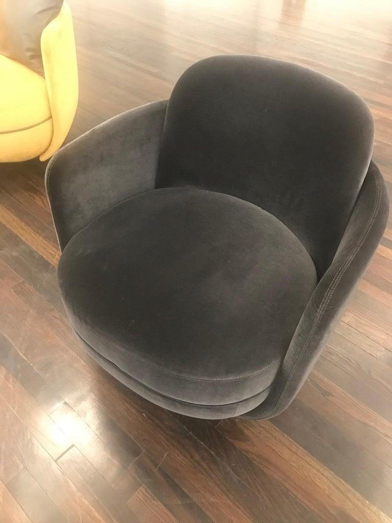 Wittmann Velvet Miles Lounge Chair and Miles Pouf by Sebastian Herkner For Sale 3