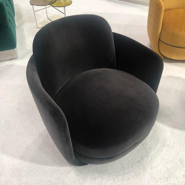 Wittmann Velvet Miles Lounge Chair and Miles Pouf by Sebastian Herkner For Sale 4