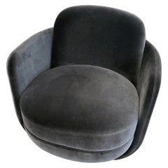 Wittmann Velvet Miles Lounge Chair and Miles Pouf by Sebastian Herkner