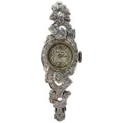 Wittnauer Diamond 14 Karat White Gold Dress Watch