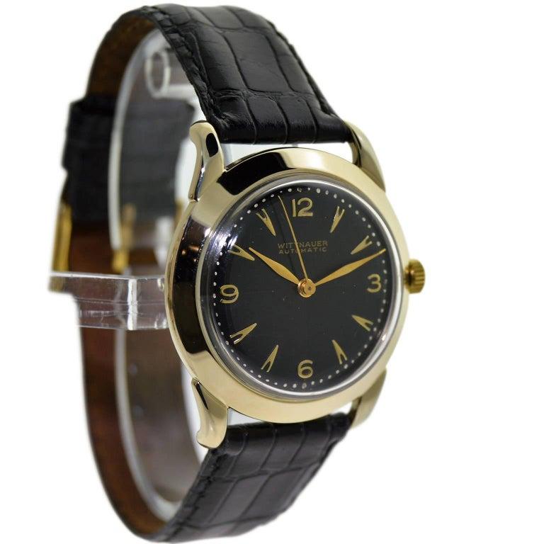 Wittnauer Yellow Gold Filled Art Deco Self Winding Wrist Watch, circa 1950s