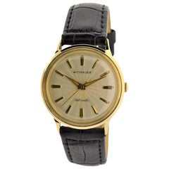 Wittnauer Yellow Gold Filled Engine Turned Dial Automatic Watch, 1950s