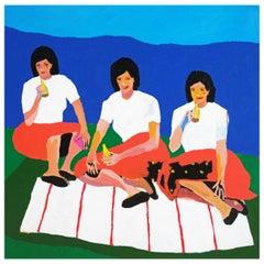 'Wives on a Blanket' Portrait Painting by Alan Fears Pop Art