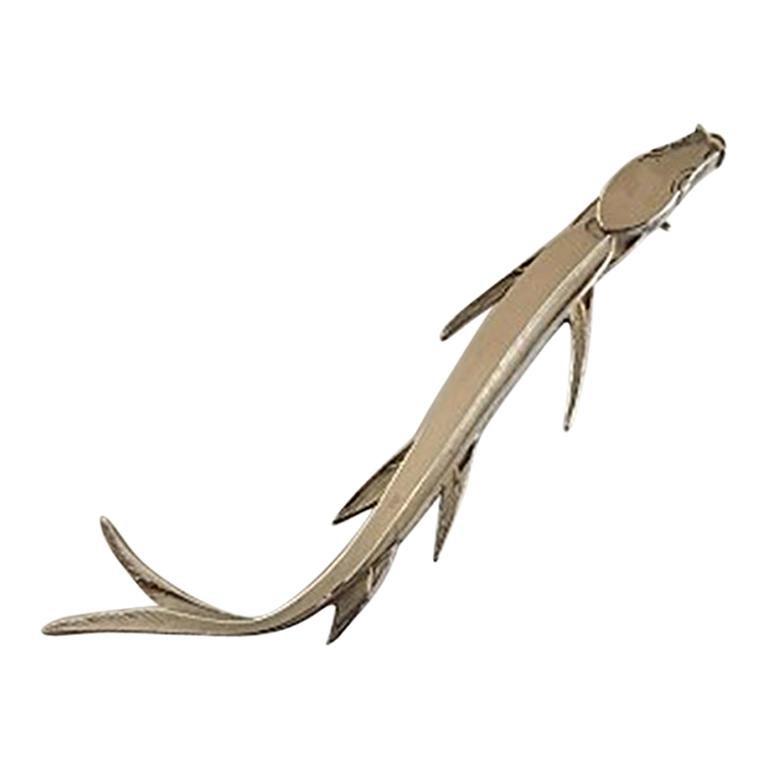 Wiwen Nilsson Sterling Silver Fish Brooch 'Eel' For Sale