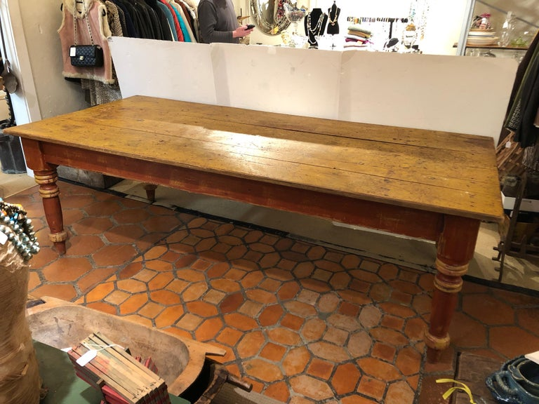 Wizened Very Large Antique Maine Farmhouse Dining Table with Original Paint For Sale 8