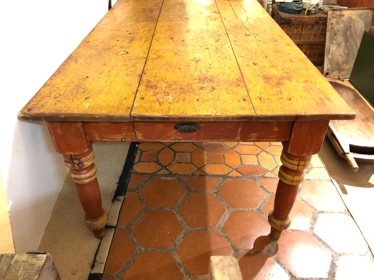 Adirondack Wizened Very Large Antique Maine Farmhouse Dining Table with Original Paint For Sale