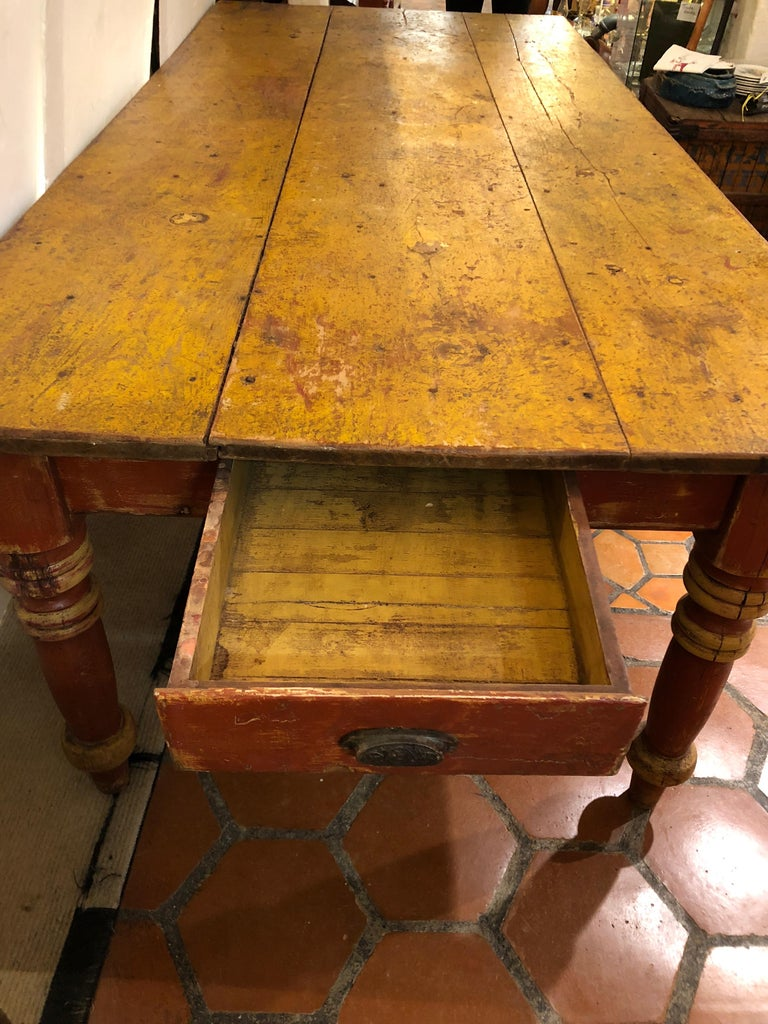 American Wizened Very Large Antique Maine Farmhouse Dining Table with Original Paint For Sale