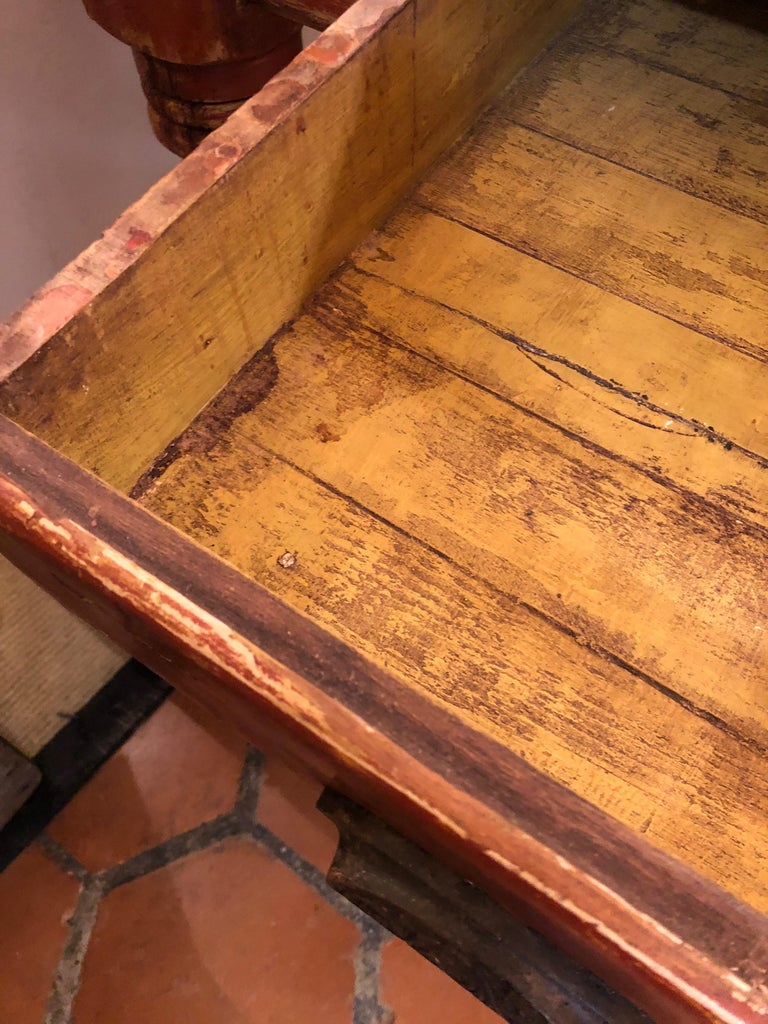 Wizened Very Large Antique Maine Farmhouse Dining Table with Original Paint In Distressed Condition For Sale In Hopewell, NJ