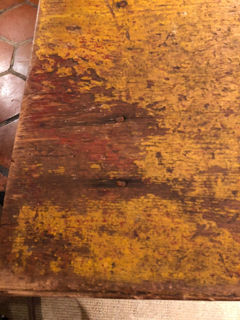19th Century Wizened Very Large Antique Maine Farmhouse Dining Table with Original Paint For Sale