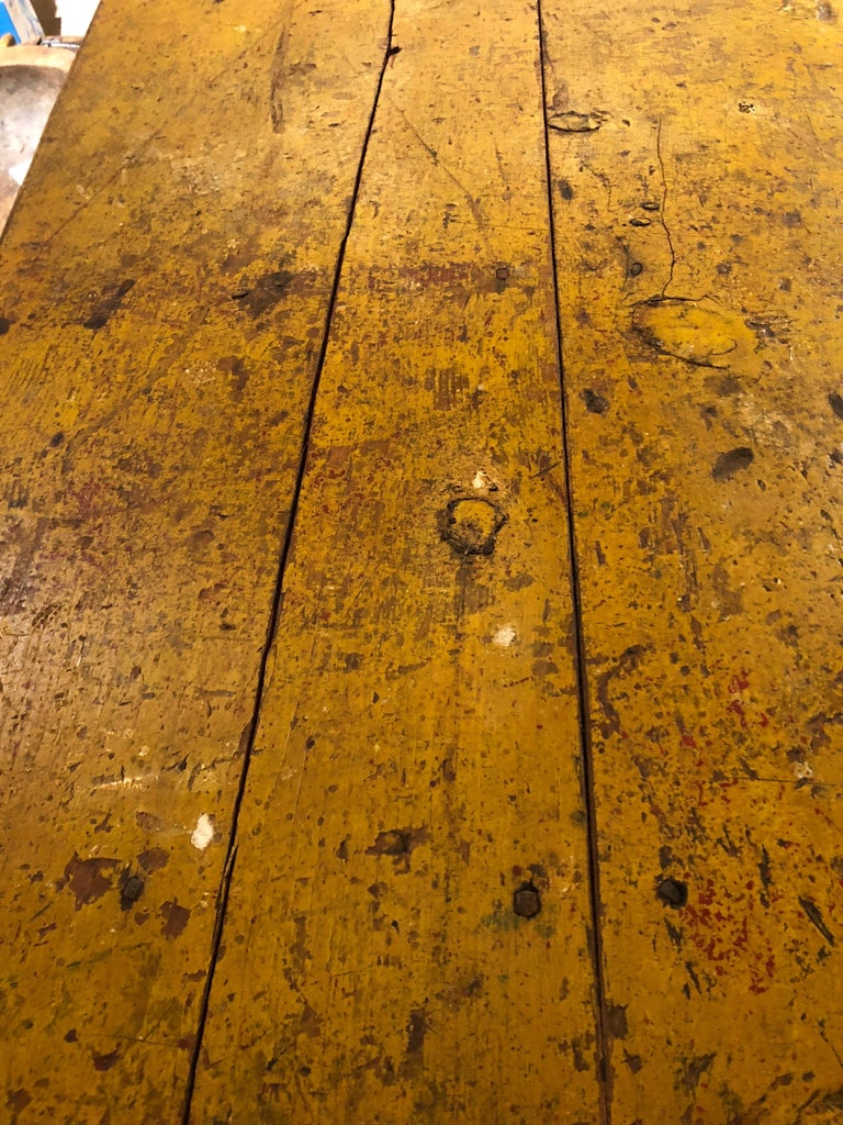 Pine Wizened Very Large Antique Maine Farmhouse Dining Table with Original Paint For Sale