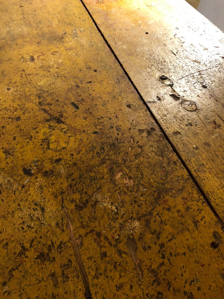 Wizened Very Large Antique Maine Farmhouse Dining Table with Original Paint For Sale 1