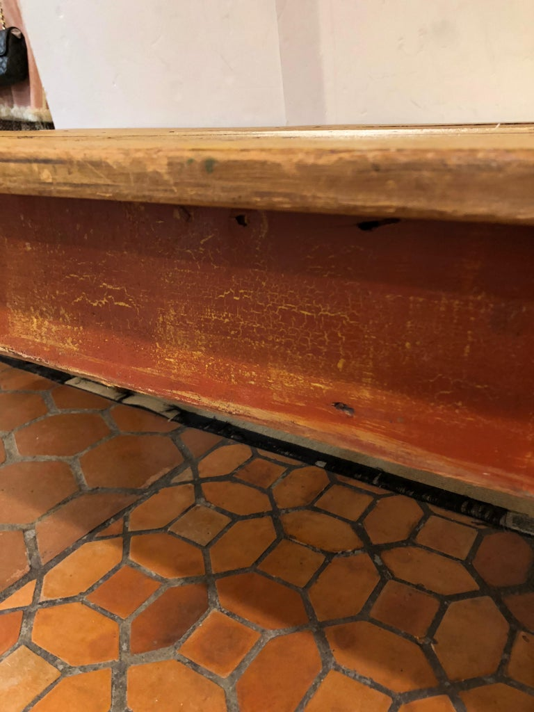 Wizened Very Large Antique Maine Farmhouse Dining Table with Original Paint For Sale 2
