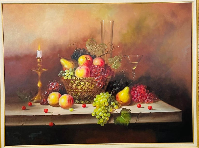 A large oil on canvas still life fruits painting by the artist W.Jenkins (20th Century - United Kingdom). The painting depicts a basket and a table full of grapes and apples next to a candle and a glass of white wine. The painting is lightly signed