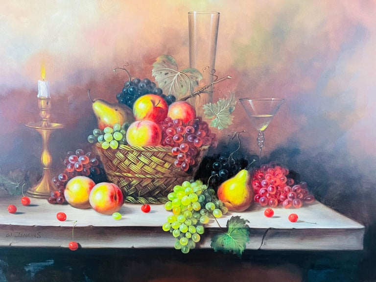 W.Jenkins Large Still Life Fruits Oil on Canvas Painting In Good Condition For Sale In Plainview, NY