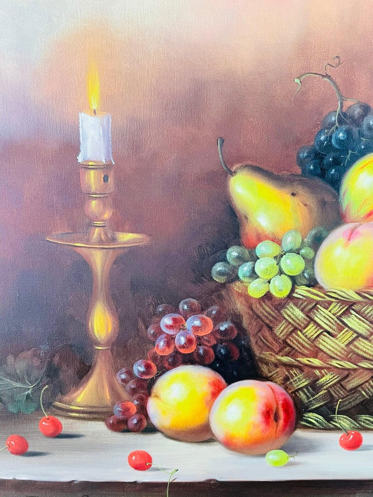 20th Century W.Jenkins Large Still Life Fruits Oil on Canvas Painting For Sale