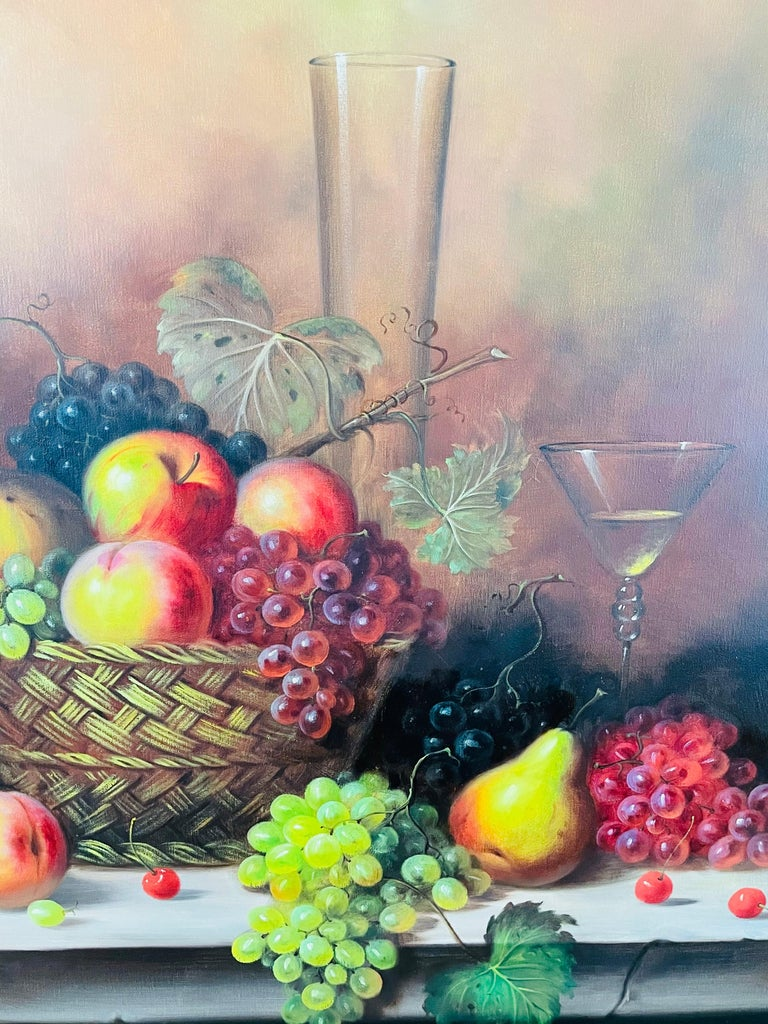 W.Jenkins Large Still Life Fruits Oil on Canvas Painting For Sale 1