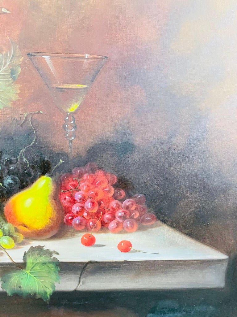 W.Jenkins Large Still Life Fruits Oil on Canvas Painting For Sale 2