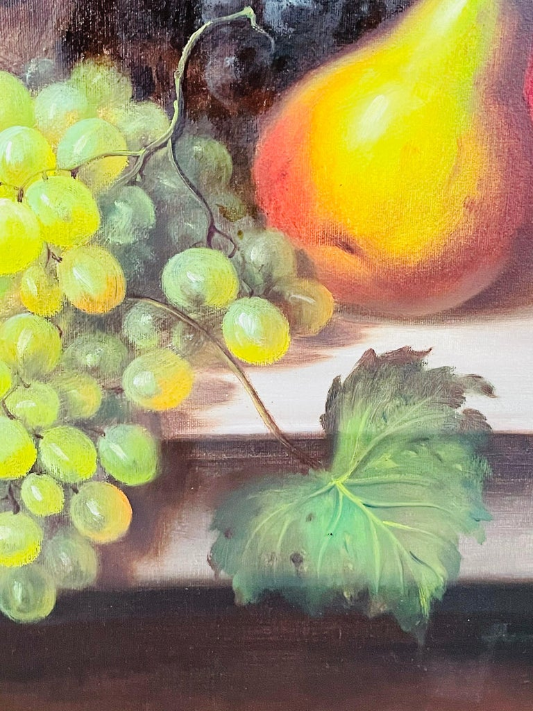W.Jenkins Large Still Life Fruits Oil on Canvas Painting For Sale 3