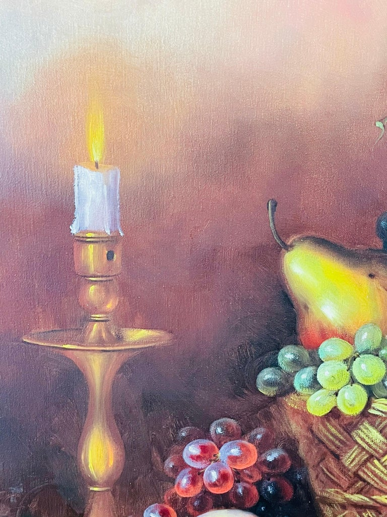 W.Jenkins Large Still Life Fruits Oil on Canvas Painting For Sale 4