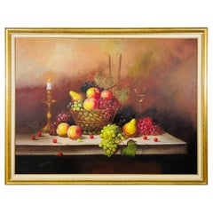 W.Jenkins Large Still Life Fruits Oil on Canvas Painting