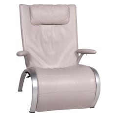 WK Living Leather Lounger Gray Relax Function