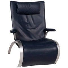 WK Wohnen Flex 679 Leather Armchair Blue Dark Construction Relax Function