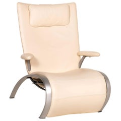 WK Wohnen Flex 679 Leather Armchair, Cream Function, Relaxation Function,
