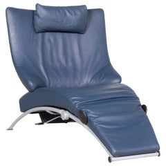 WK Wohnen Solo 699 Designer Leather Chair Blue One-Seat