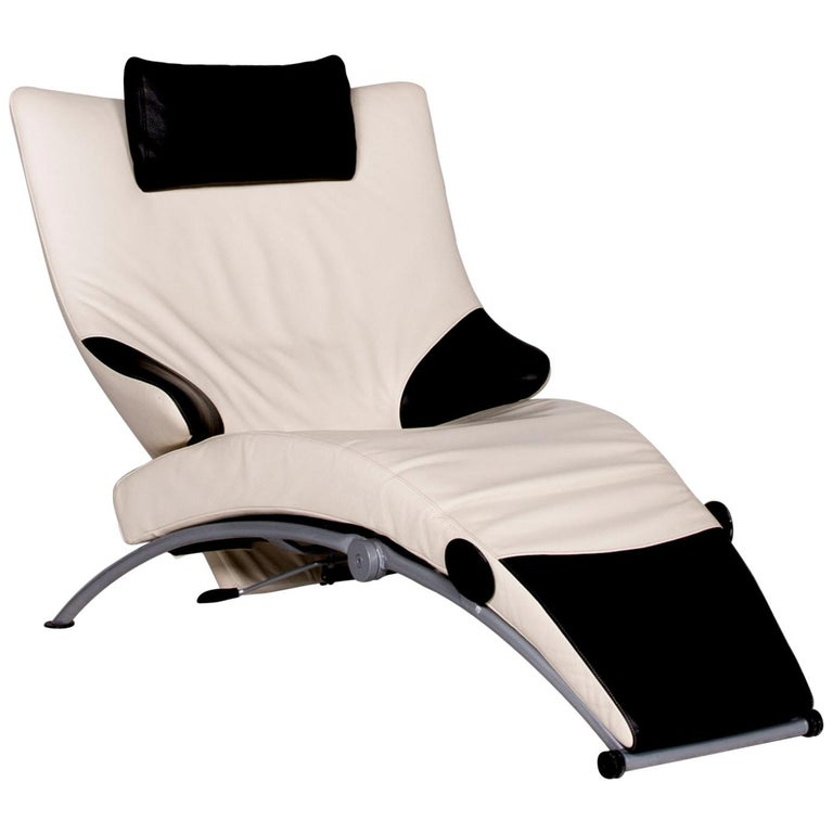 Fantastic Wk Wohnen Solo 699 Designer Leather Lounge Chair White Black Genuine Leather Caraccident5 Cool Chair Designs And Ideas Caraccident5Info