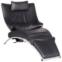 Wk Wohnen Solo 699 Designer Leather Lounger Black Genuine Leather Armchair