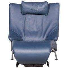 WK Wohnen Solo 699 Designer Leather Lounger Blue Genuine Leather Armchair