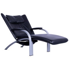 WK Wohnen Spot 698 Leather Couch One-Seat Armchair Black