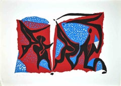 Abstract Composition - Original Screen Print by Wladimiro Tulli - 1970s